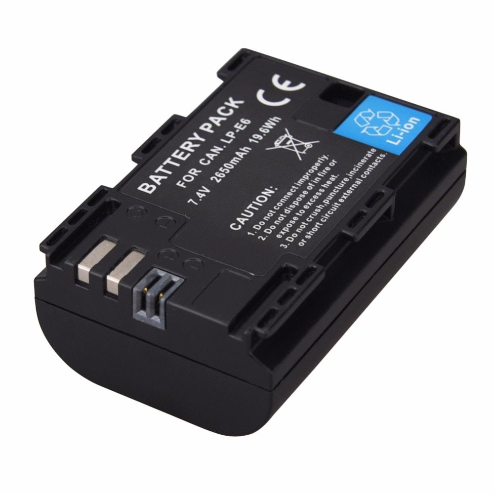 1PCS 2650mAh LP-E6 LP E6 LPE6 Camera Battery For Canon EOS 5DS R 5D Mark II Mark III 6D 7D 60D 60Da 70D 80D DSLR EOS 5DS Bateria