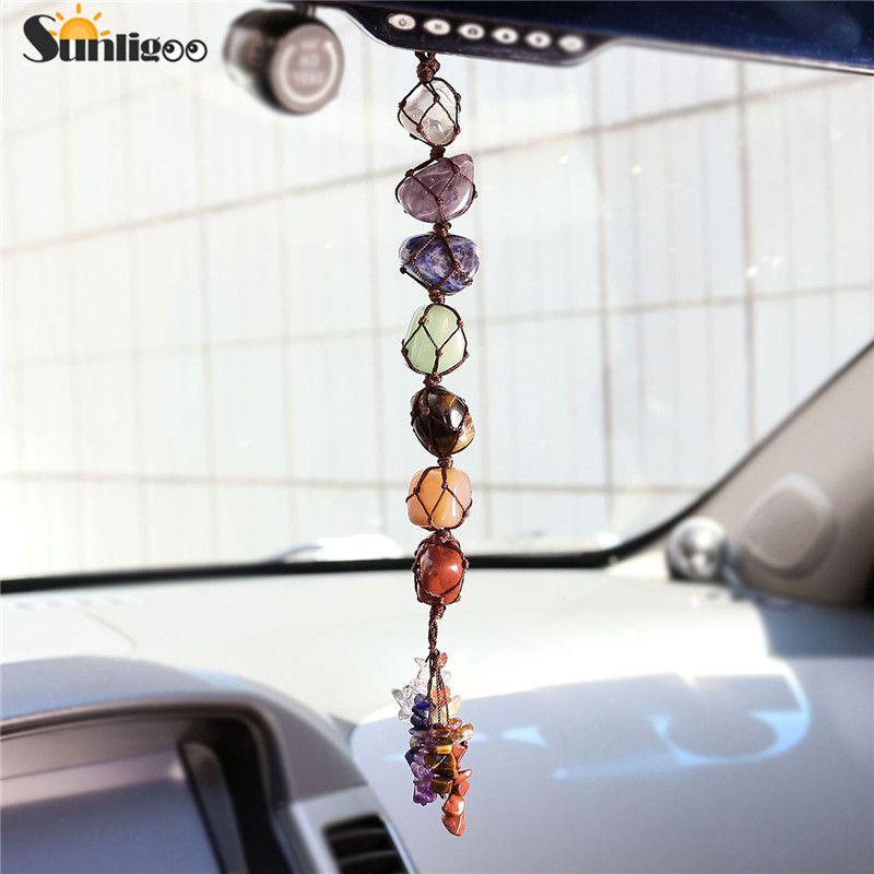Sunligoo 7 Chakra culbuté pierre gemme gland méditation spirituelle suspendus/fenêtre/Feng Shui ornement pierres naturelles voiture/décor à la maison