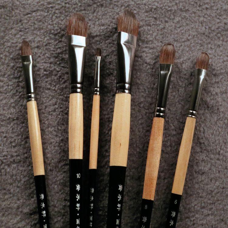 6 pièces/ensemble Trition brosse à cheveux lisse et doux pour acrylique, Aquarelle, peinture à l'huile fournitures d'art pinceaux pour artiste