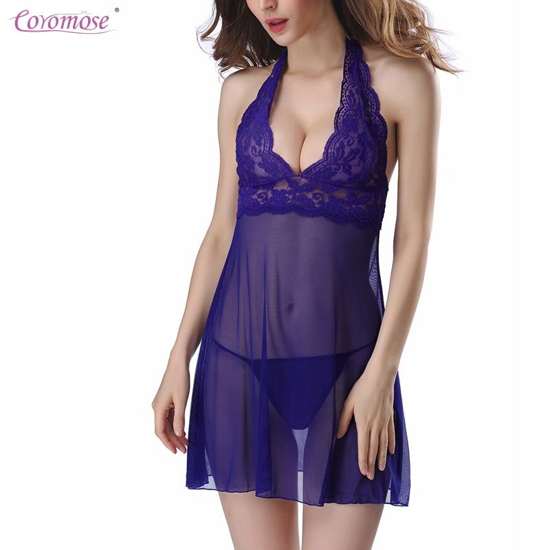 Coromose Women Sexy Chemise Lace Bow Deep V Neck Babydoll Lingerie See Through Backless Mini Nightdress Mesh See-through