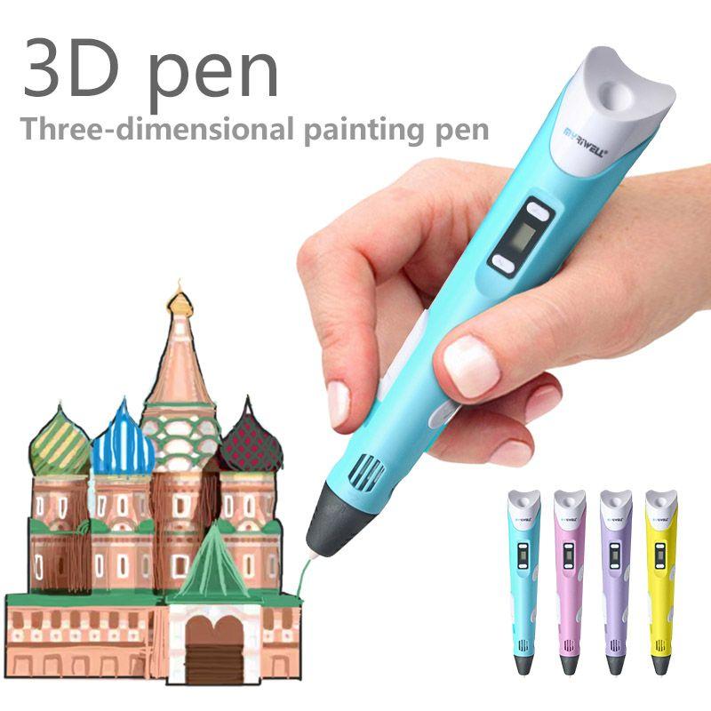 Myriwell 3d stylo 3d-pens, affichage LED, ABS/PLA Filament, 3d magique stylo Intelligent, Permet Aux enfants à livraison, peinture 3d pen doodler