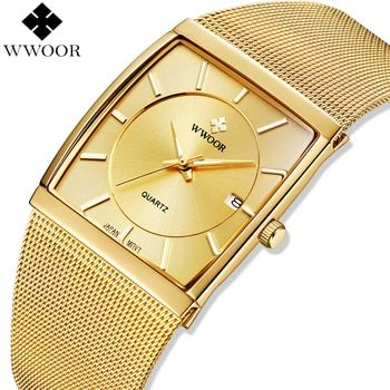 WWOOR Brand Luxury Mens Watches Gold Square Quartz Watch Men Wristwatch Steel Mesh Golden Male Watch Man Clock Relogio Masculino