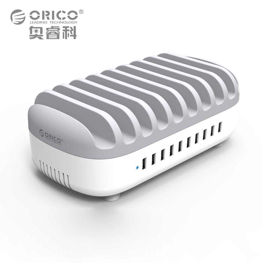 ORICO DUK Cargador USB 10 Puertos USB Inteligente Adaptativa Escritorio Estación de Carga con Soporte 5 V 2.4A para Samsung Xiaomi iPad