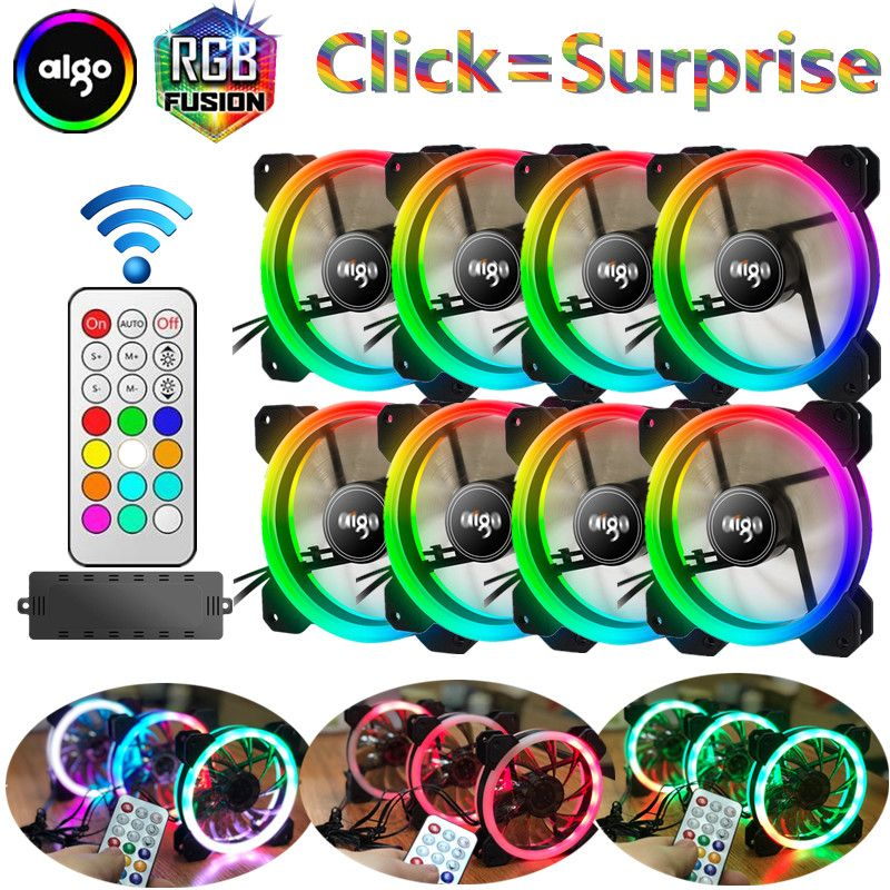 aigo dr12 8pcs computer case pc fan rgb dual led ring 120mm silent IR remote controller computer cooler cooling rgb case fan cpu