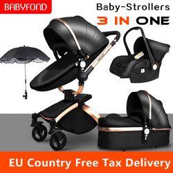 Babyfond Coupon! Multi-functional Luxury Baby stroller 3 in 1 360 degree gold frame PU Pram EU safety Car Seat Bassinet newborn