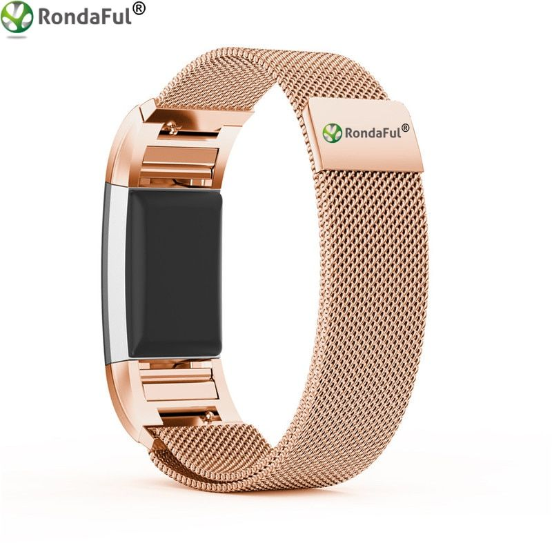 Rondaful Replacement Wrist Strap for Fitbit Charge 2 Band Magnetic Milanese Stainless Steel Bracelet for Fitbit Charge 2 Strap
