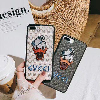 De luxe X Téléphone Couverture de Cas Pour Apple Iphone 7 8 6 Plus Brodé Cas Mignon Donald Daisy Duck Cartoon Cas Fundas Capa Coque