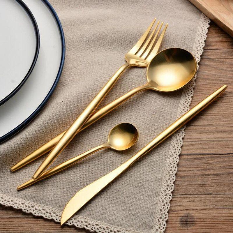 KuBac 2017 nouveau 24 pièces/ensemble doré Leon Top acier inoxydable couteau à Steak fourchette fête couverts vaisselle ensemble salle à manger appareil