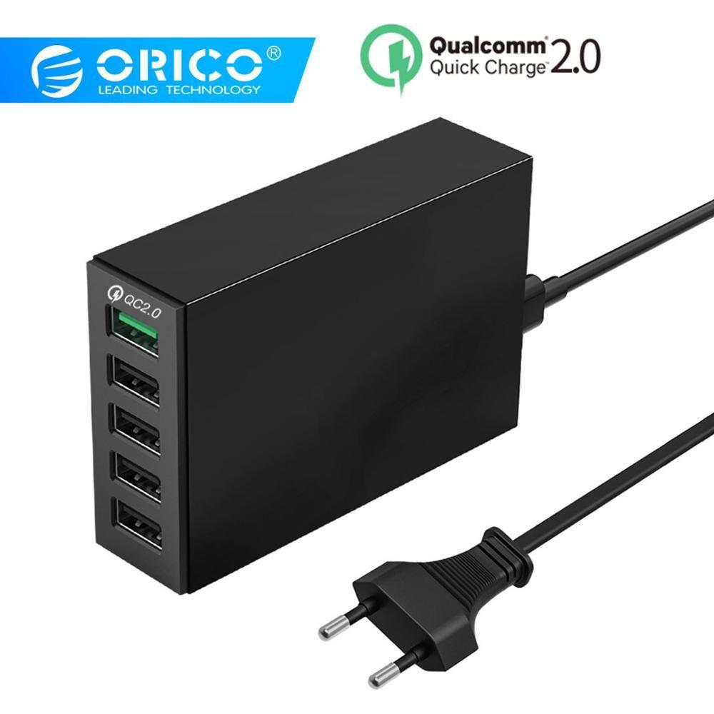 ORICO 5 Ports USB chargeur QC 2.0 5V8A 40 W Max bureau chargeur rapide pour iPhone Samsung S6 Xiaomi Huawei EU prise chargeur