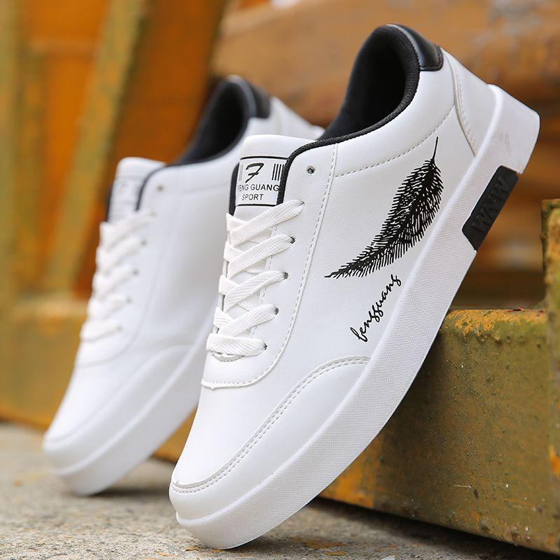 BORRUICE hommes chaussures printemps automne décontracté en cuir chaussures plates à lacets bas haut blanc homme baskets tenis masculino adulto chaussures