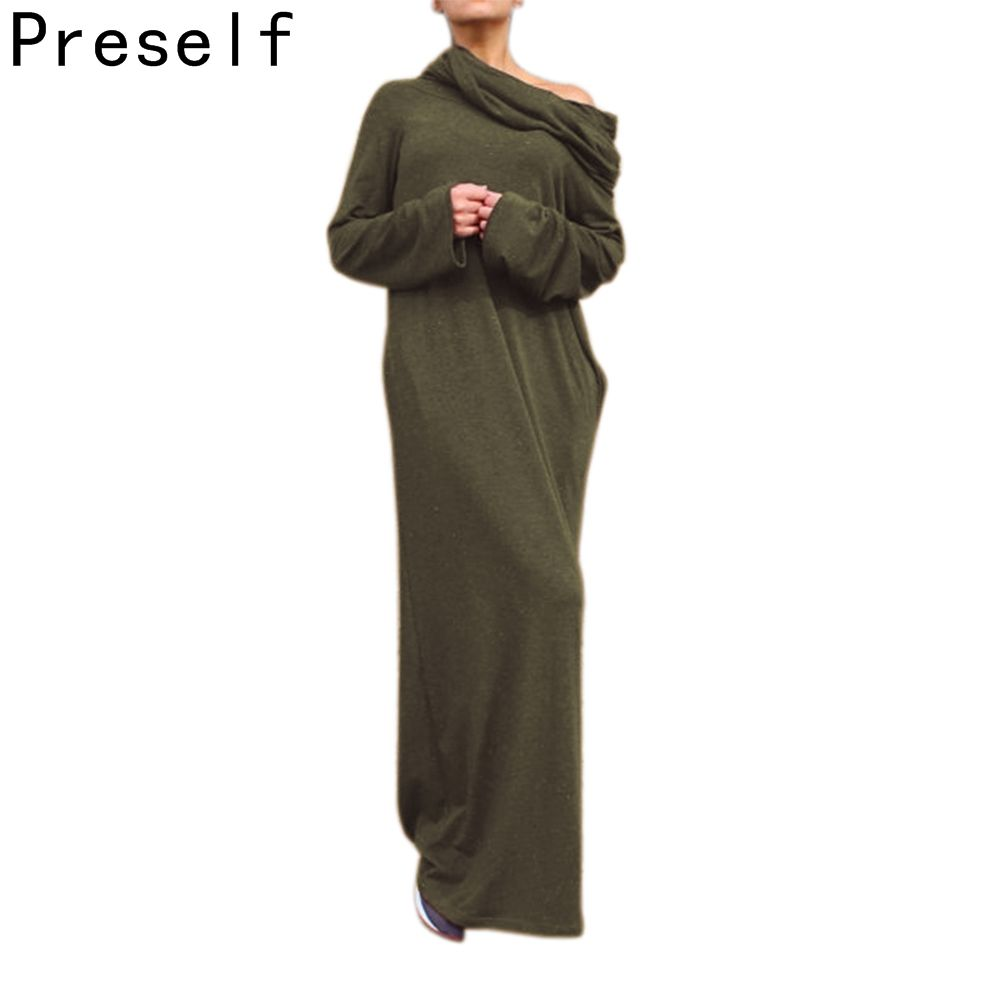 Preself Loose Hooded Maxi Dresses Women's Knit Off-Shoulder Wrap Dress Casual long Sleeves Plus Size Party 2018 Autumn Winter