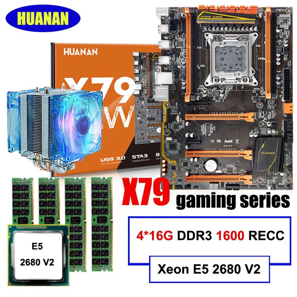 Marca recomendada HUANAN deluxe X79 juegos motherboard Xeon E5 2680 V2 con enfriador RAM 64G (4*16G) 1600 MHz DDR3 RECC todo probado