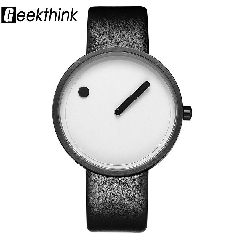 GEEKTHINK Top Brand Creative Quartz watch men Luxury Casual Black Japan quartz-watch Simple Designer Fashion clock male