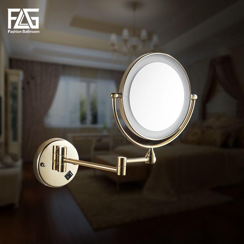 Golden Brass LED Light Makeup Mirrors 8