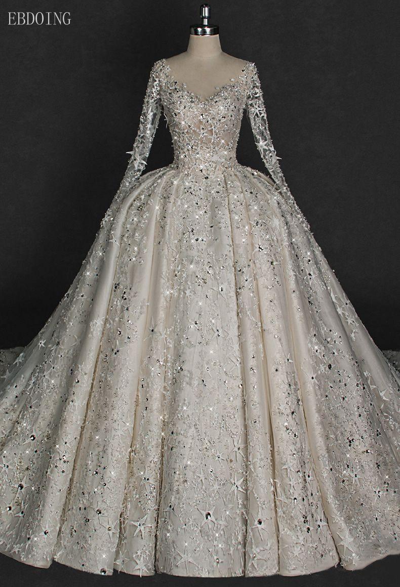 Erstaunlich Backless Prinzessin Ballkleid Hochzeit Kleid V-ausschnitt Volle Hülse Kapelle Zug Mit Spitze Stern Form Perlen Vestidos De Novia