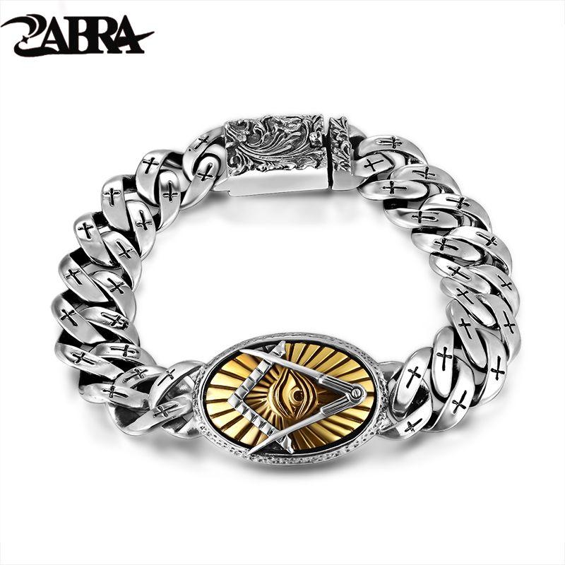 ZABRA Véritable 925 Argent Oeil De Horus Hommes Bracelet Punk Rock Or Vintage Fleur Croix Sterling Argent Bracelets Homme Bijoux
