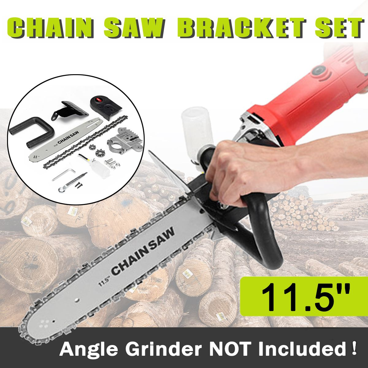 Drillpro Upgrade 11.5 Inch Chainsaw Bracket Changed 100 125 150 Angle Grinder M10/M16 Into Chain Saw Woodworking Tool