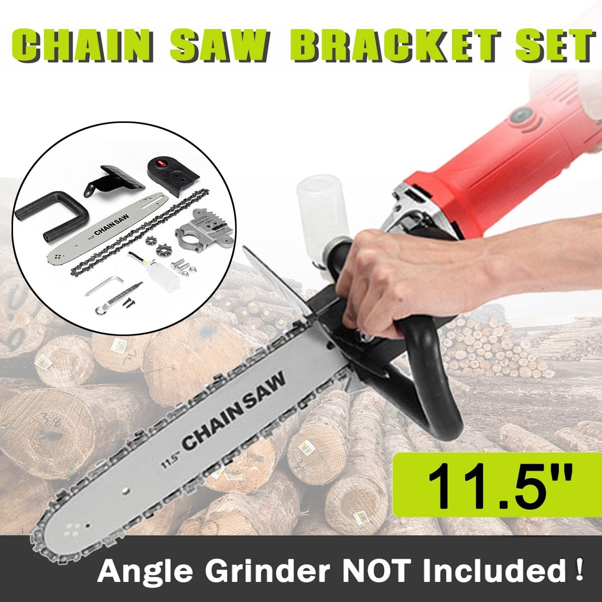 Drillpro Upgrade 11.5 Inch Chainsaw Bracket <font><b>Changed</b></font> 100 125 150 Angle Grinder M10/M14 Into Chain Saw Woodworking Tool