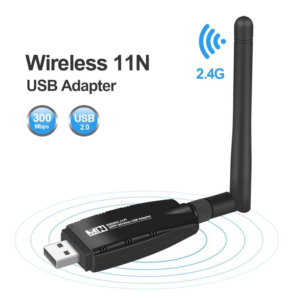 Mini USB Wifi Adaptateur Antenne Wi-fi Carte Réseau Lan Sans Fil Carte Réseau Dongle 300 Mbps 20dB 802.11b/n/g USB Ethernet Adaptateur