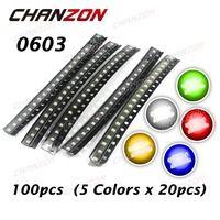 1608 светодио дный шт. 0603 (100) SMD LED чип Ассорти Комплект 20mA синий красный белый зеленый желтый светодиод пакет SMT светоизлучающий