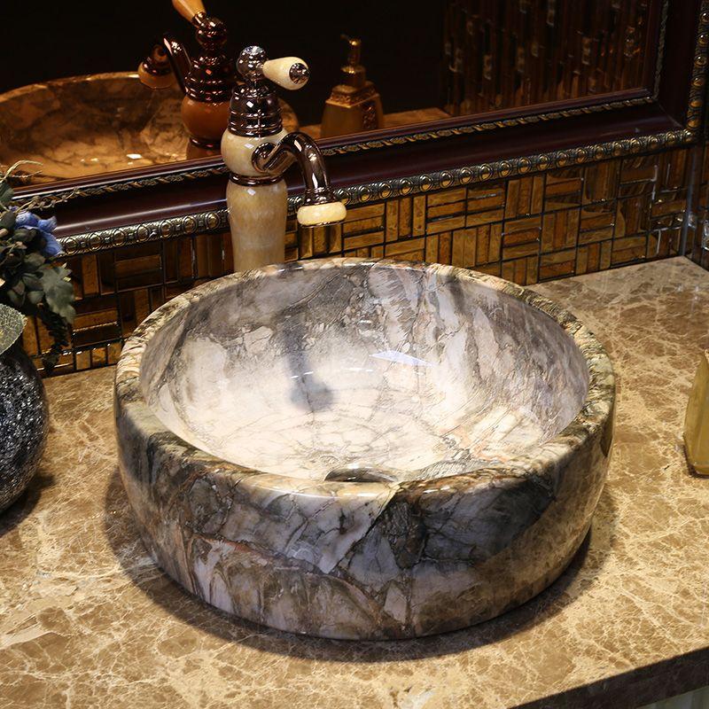 Neue Europäische moderne badezimmer waschbecken, runden becken imitation marmor plattform waschbecken kostenloser versand