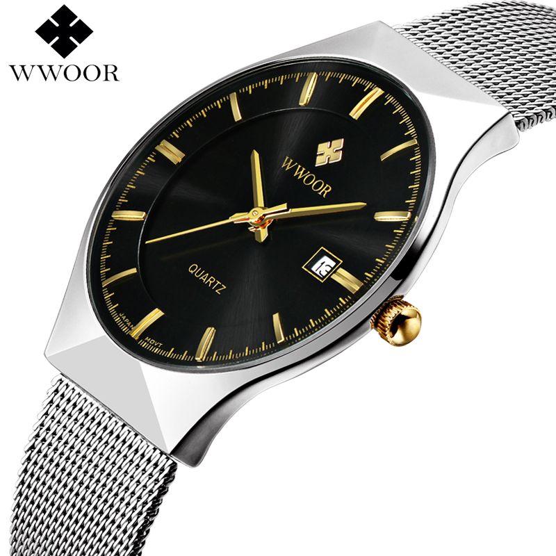 New Men Watches Top Brand Luxury 50m Waterproof <font><b>Ultra</b></font> Thin Date Clock Male Steel Strap Casual Quartz Watch Men Wrist Sport Watch