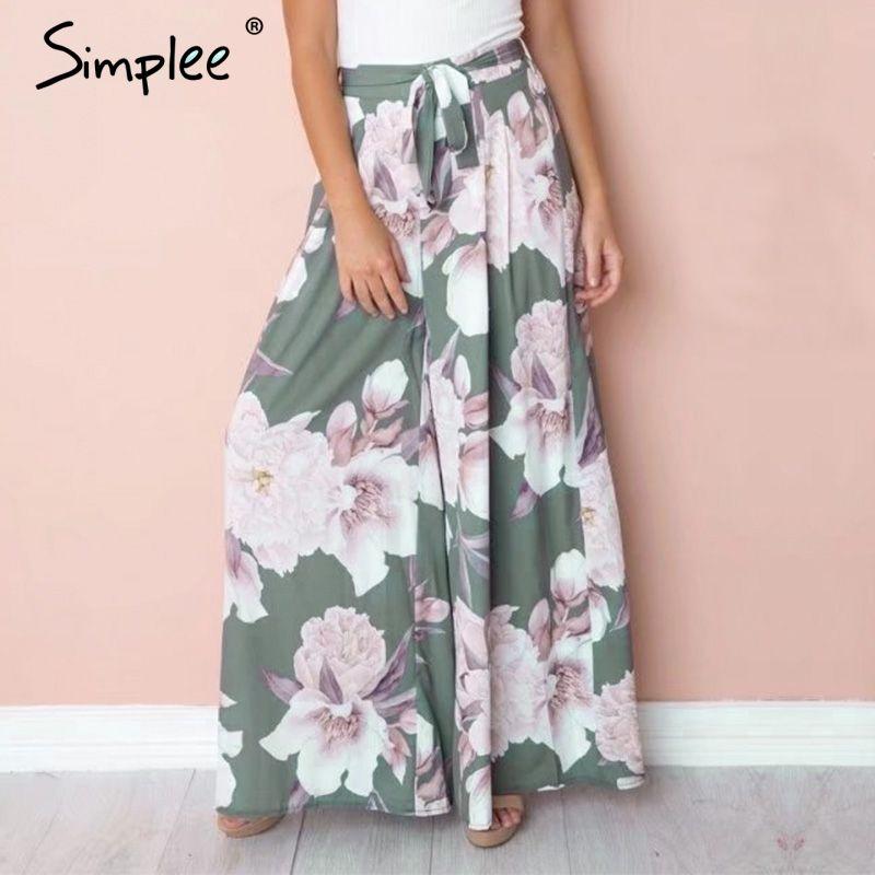 Simplee Sash floral print <font><b>wide</b></font> leg pants women Elastic loose boho casual pants trousers Beach summer high waist pants female
