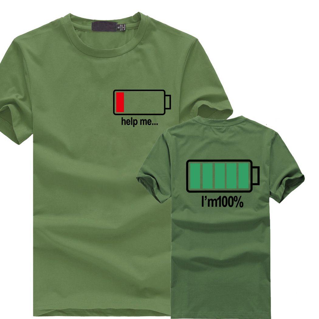 2019 mode été t-shirts mma tee hommes T shirt garçons 3D lettres HELP ME énergie basse t-shirt mâle batterie drôle couverture en coton t-shirts