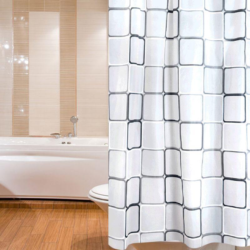 180x200 cm Polyester Tissu De Bain Douche Rideau Blanc Avec Anneaux Étanche Rideaux De Douche