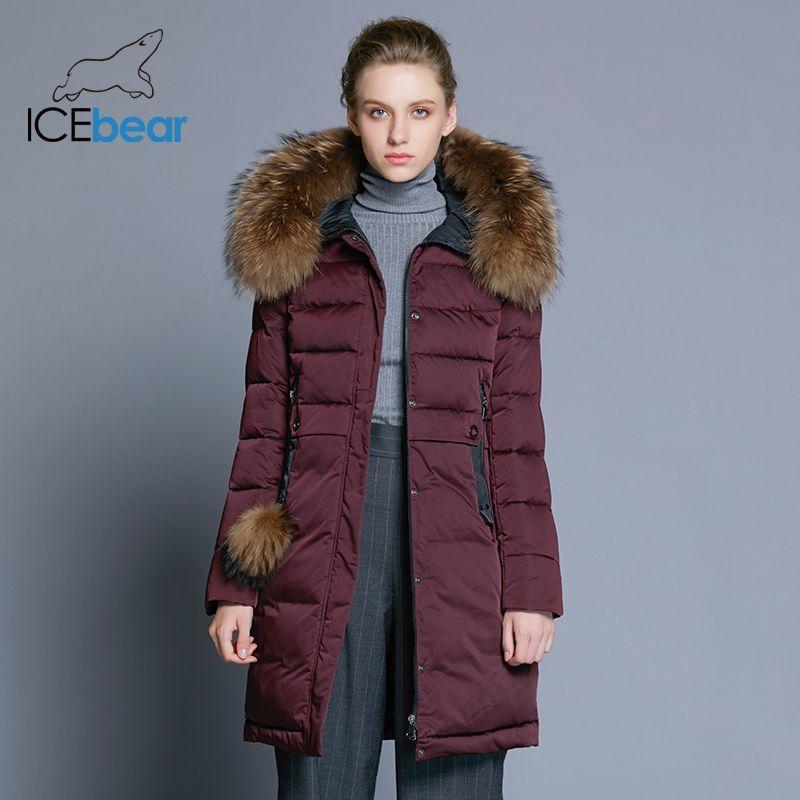 ICEbear 2018 winter women's coat long slim female jacket animal fur collar brand clothing thick warm windproof parka GWD18253
