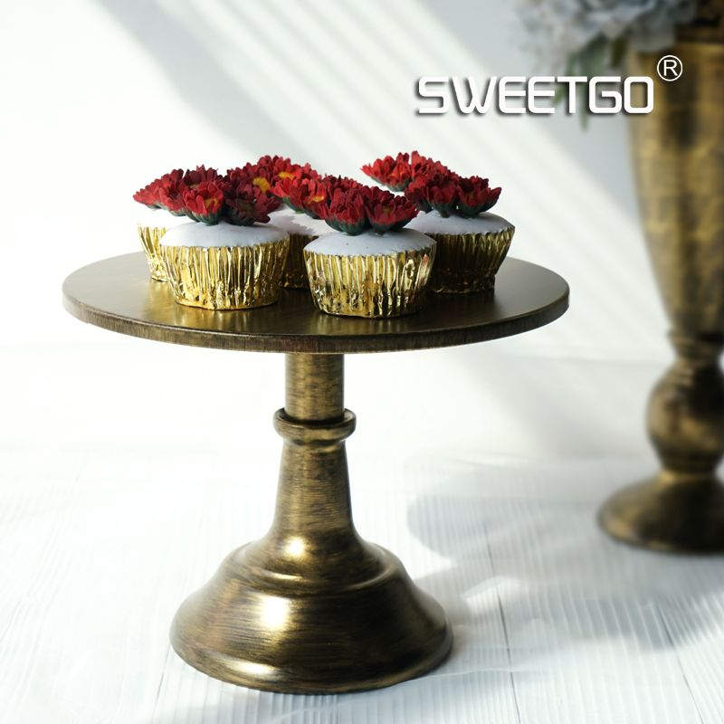 New arrive Vintnage gold cake stand 10inch/ 12inch wedding party table decoration supplier cake accessory tools
