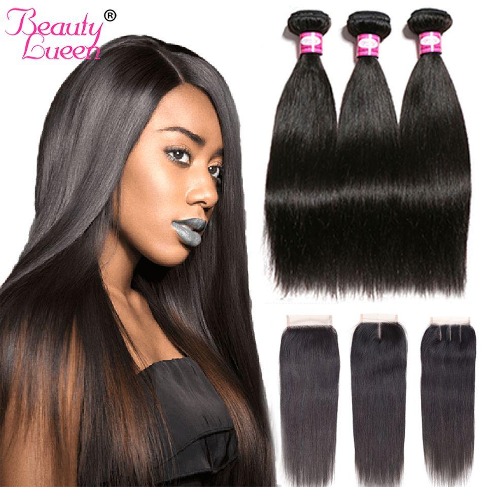 Brésilienne Cheveux Raides Weave Bundles Avec Fermeture Remy 3/4 Faisceaux Brazillian Cheveux Raides Avec Fermeture Jet Noir de Cheveux Humains
