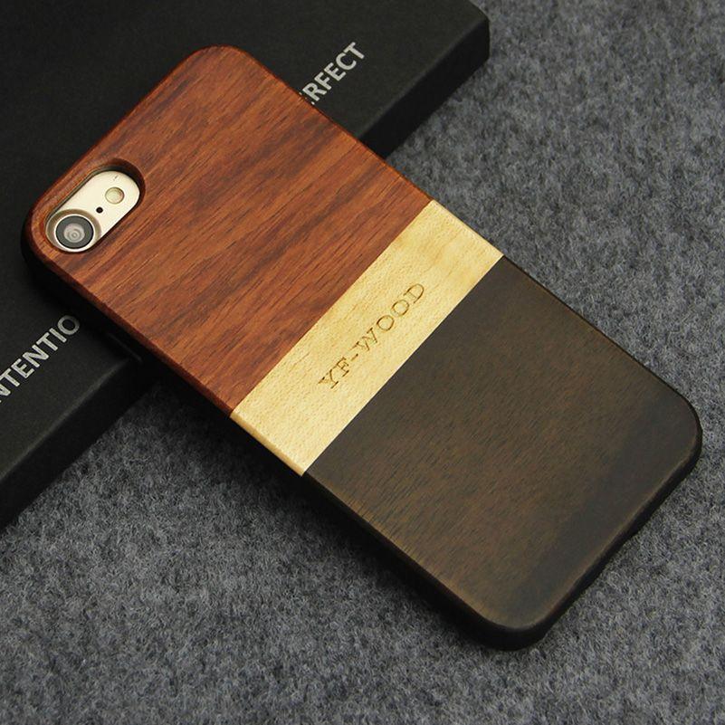 Étui pour iPhone 7 8 plus en bois étui hybride antichoc Unique en bois véritable breveté pour Apple iPhone 7/8 Plus