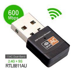 Sans fil 600 Mbps USB wifi Adaptateur MINI-AC600 2.4 GHz 5 GHz WiFi Antenne PC Mini Ordinateur Carte Réseau Récepteur Double bande 802.11b/n/g/ac