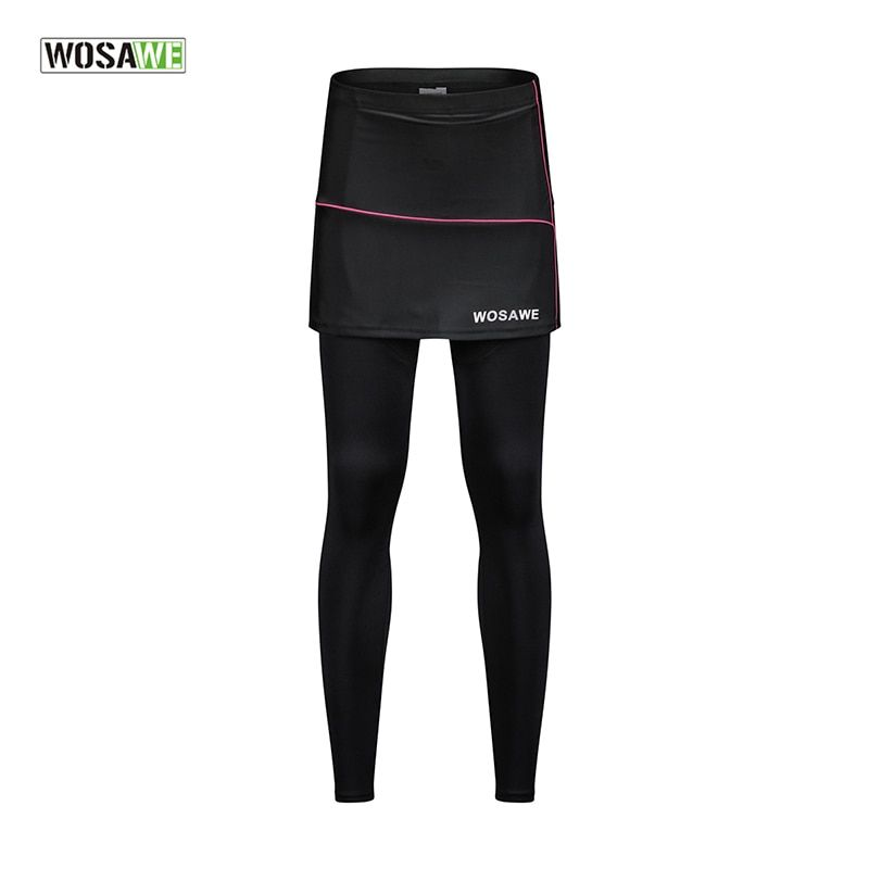 WOSAWE Cycling Pants Sports Pants Running Leggings Padded Breathable Gym Sportswear Fitness Women Skirt Hiking Sports Clothing