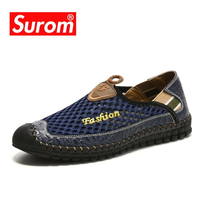 SUROM Summer New Casual Shoes Men Sneakers Breathable Leather Mesh Fashion Driving Shoes Comfortable Soft Hand Made Men Loafers