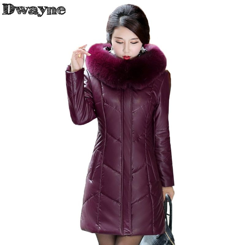 Winter Jacket Women 2017 Fashion New Style PU Real Sheep Skin Leather Jacket Down Cotton Jacket Real Fox fur Parka
