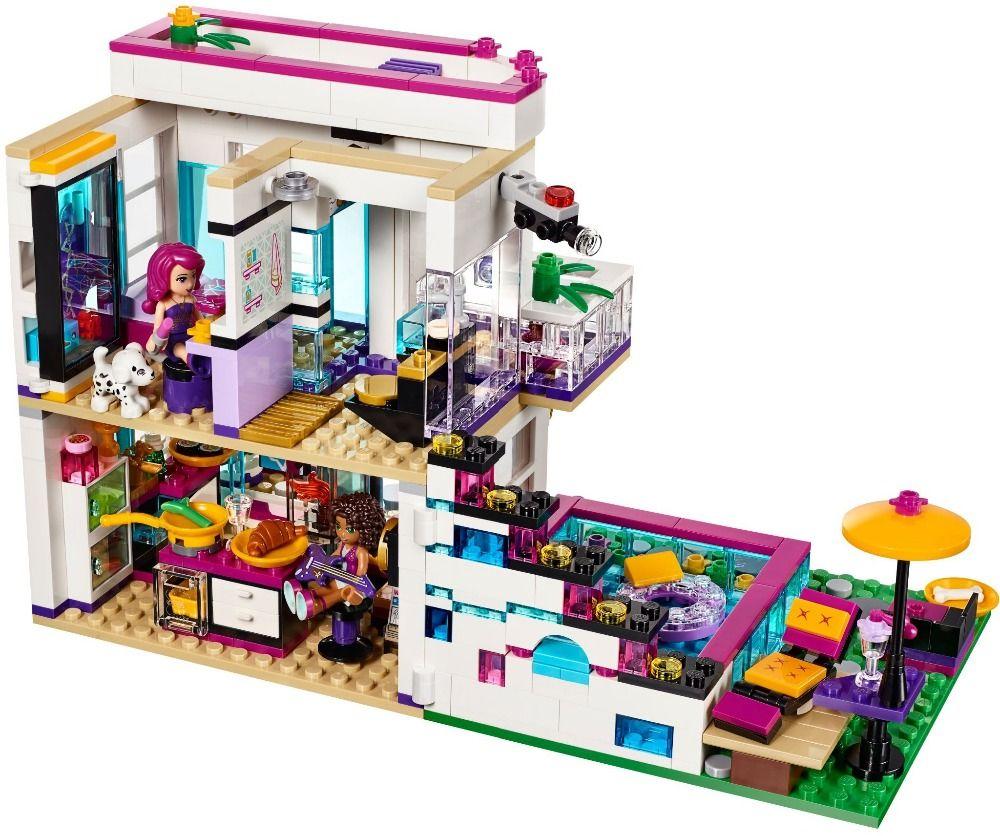 New 619pcs Friends Series Livi's Pop Star House Building Blocks Andrea mini-doll figures Toy Compatible with Legoe Friends