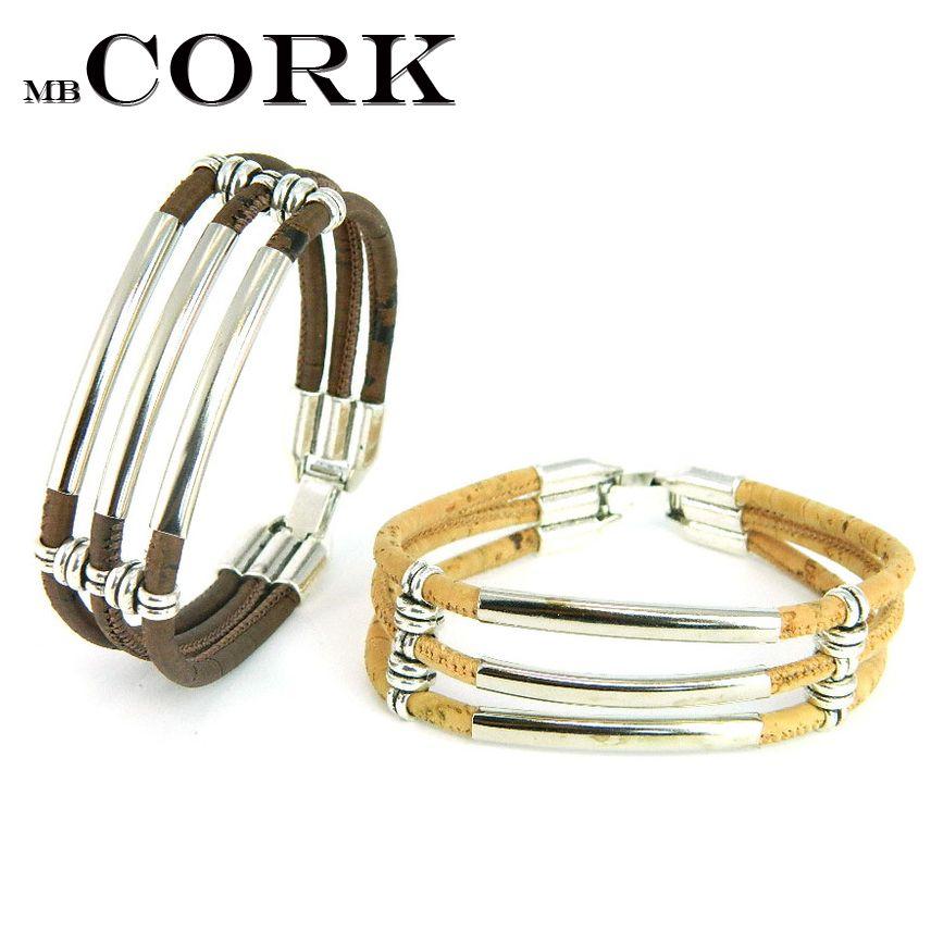 Portugal Pulseras Cork jewelry Cork bracelets Three cork preparation, silver tube, handmade natural B-942