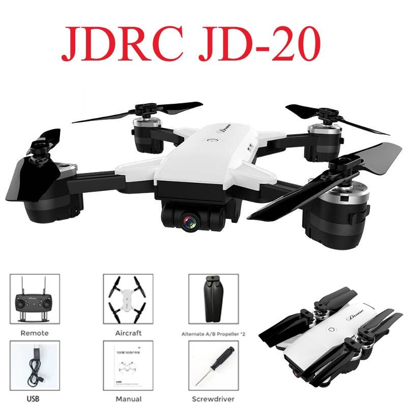 JDRC JD-20 JD20 WIFI FPV With 2MP Wide Angle Camera High Hold Mode Foldable RC Quadcopter RTF Selfie Drone VS Visuo XS809HW E58