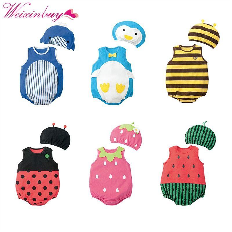 Милая детская одежда с рисунком для маленьких мальчиков девочек Комбинезоны для малышек хлопок животных и фруктов узор Спортивный костюм д...