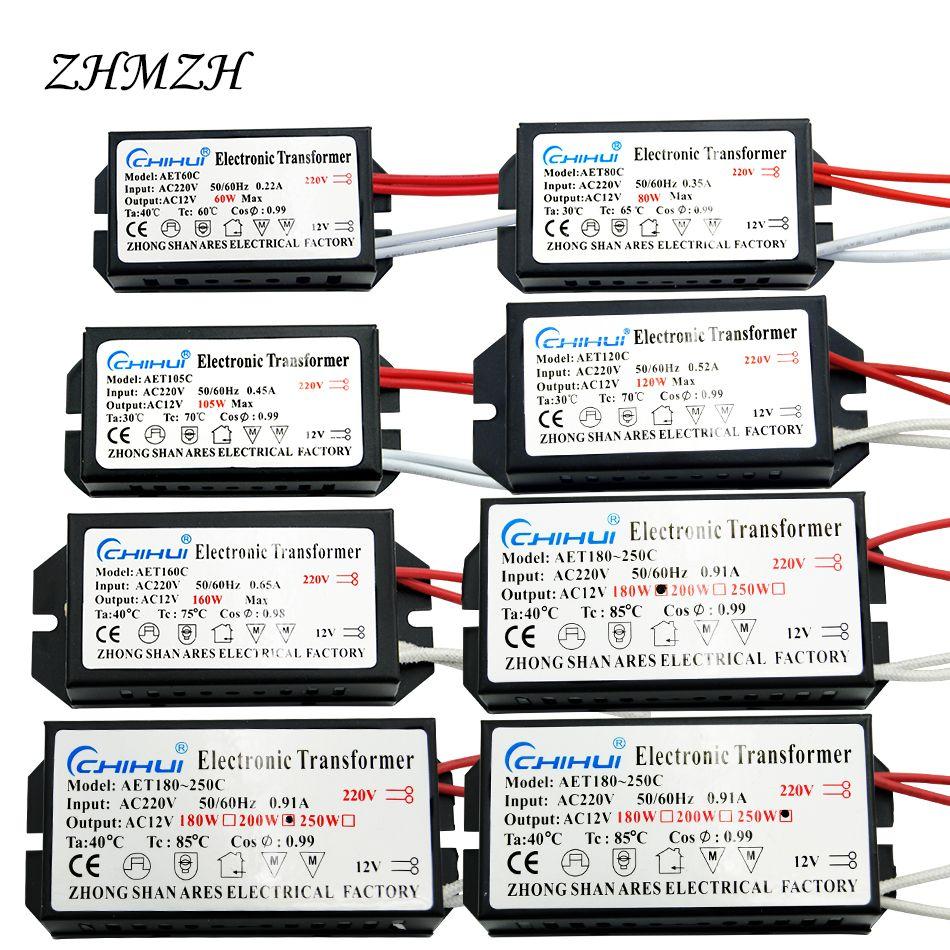 Chihui Elektronische Transformator 60 Watt 80 Watt 105 Watt 120 Watt 160 Watt 180 Watt 200 Watt 250 Watt AC220V zu 12 V Für halogenlampe & Kristall Lampe G4 Licht perlen