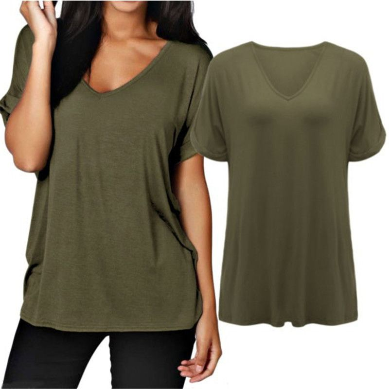 ZANZEA 2018 Women Summer Plus Size Short Rolled Sleeve T Shirt Sexy V Neck Loose Plain Tops Tees camisetas mujer S-3XL T-Shirts