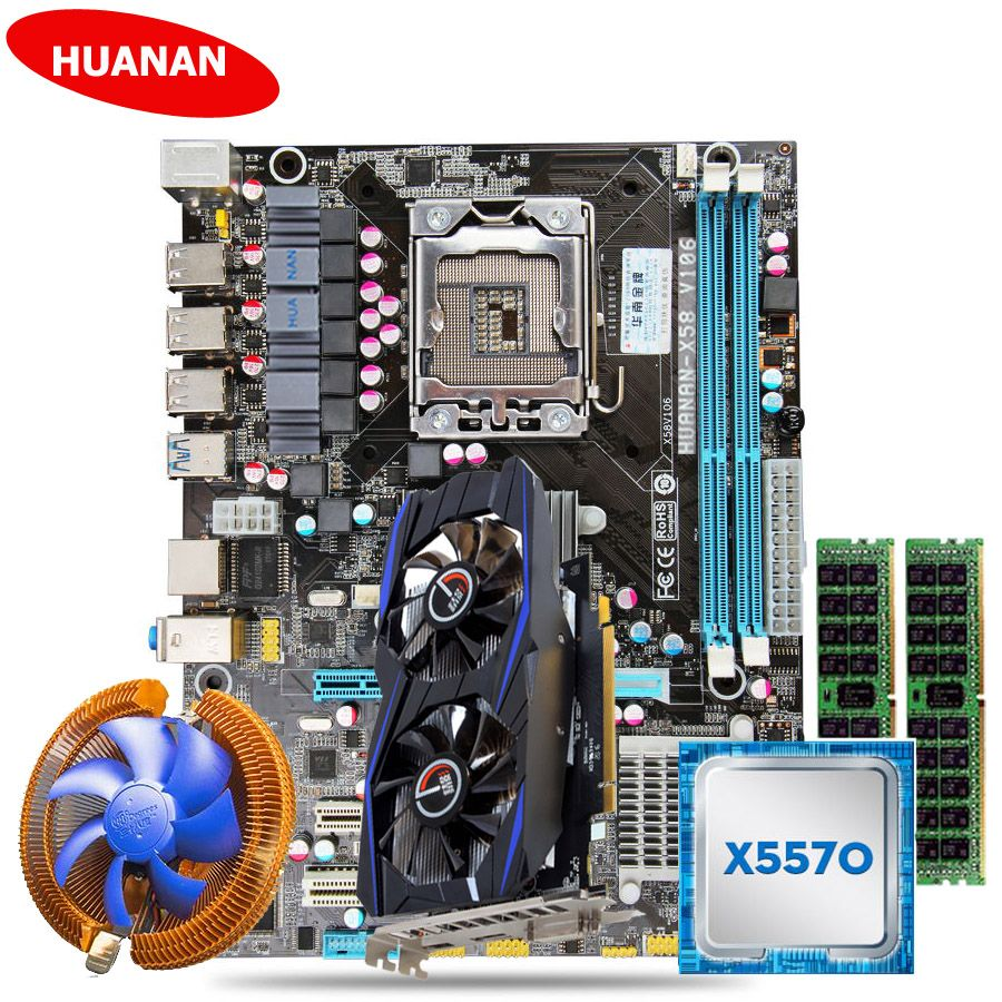New arrival HUANAN X58 motherboard set with CPU cooler Xeon X5570 (2*8G)16G DDR3 server memory RECC GTX750Ti 2G DDR5 video card