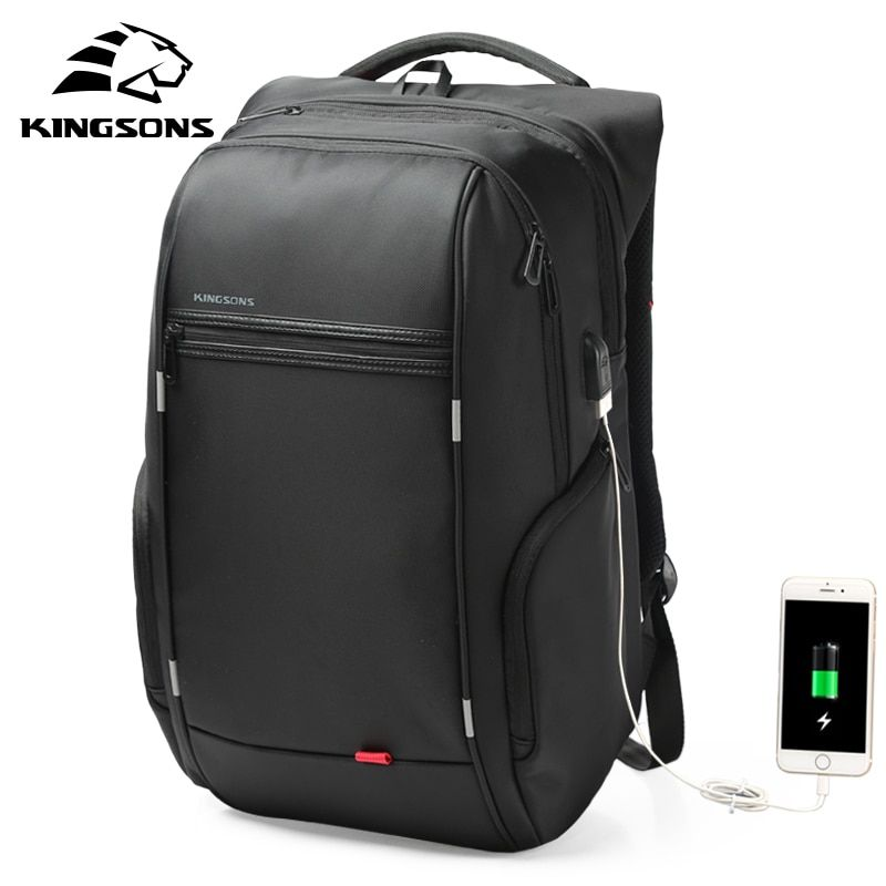 Kingsons 1517 Laptop Backpack <font><b>External</b></font> USB Charge Computer Backpacks Anti-theft Waterproof Bags for Men Women