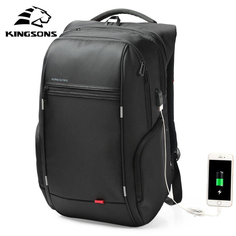 Kingsons 15 17 Ordinateur Portable Sac À Dos Externe USB Charge Ordinateur Sacs À Dos Anti-vol Étanche Sacs pour Hommes Femmes