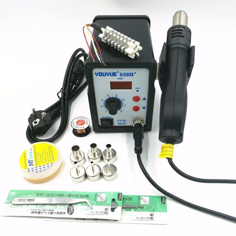 Hot Air Gun 700W YOUYUE 858D+ ESD Soldering Station Digital Desoldering Station + 6 Air nozzles + Heating core With Solder past