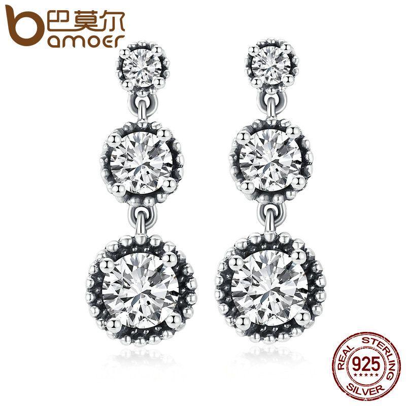 BAMOER Vintage 100% 925 Sterling Silver Eternal Elegance, Clear CZ Drop Earrings for Women Sterling Silver Jewelry Bijoux PAS504