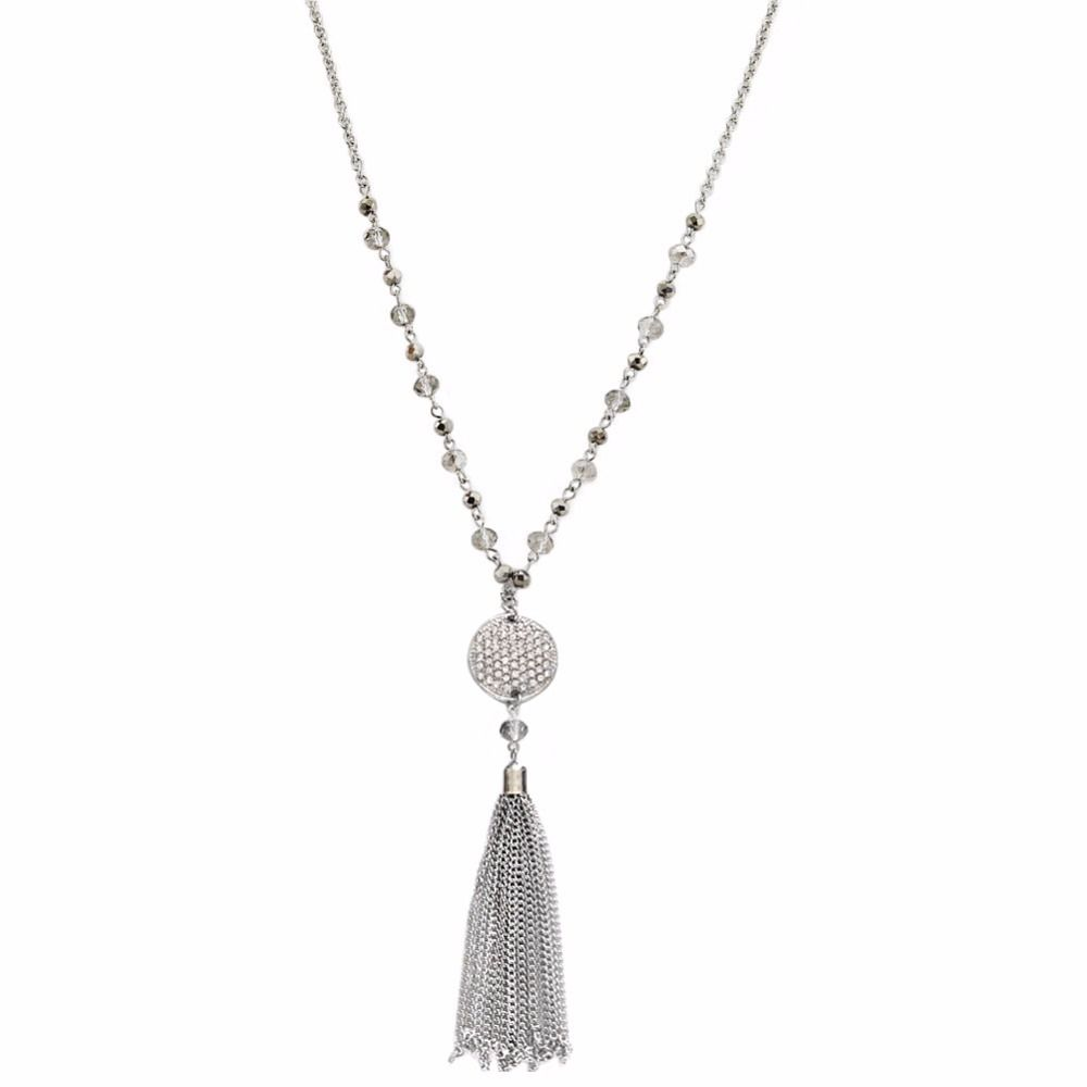 TrinketSea Argent Long Gland Pendentif Colliers pour Femmes Cristal Perle Alliage Chaîne Colliers Livraison Gratuite Bijoux De Mode Cadeau