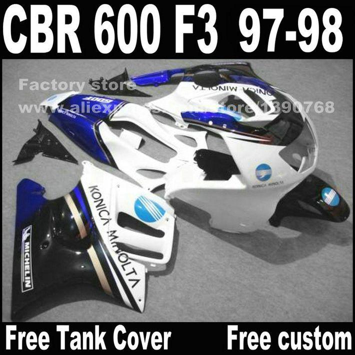 Motorrad teile für HONDA CBR 600 F3 verkleidungen 1997 1998 CBR600 F3 97 98 blau weiß verkleidung kit + tankabdeckung A1